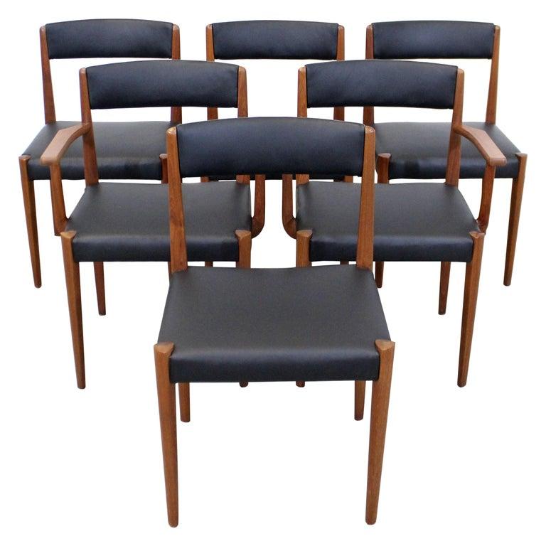 Set of 6 Danish Modern Povl Dinesen Teak/Leather Dining Chairs For Sale