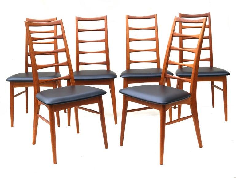 Set of 6 Danish modern teak ladder back Niels Koefoed dining chairs Koefoeds Hornslet.