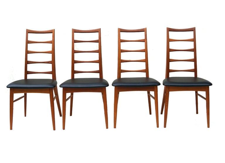 Scandinavian Modern Set of 6 Danish Modern Teak Ladder Back Niels Koefoeds Dining Chairs Hornslet For Sale