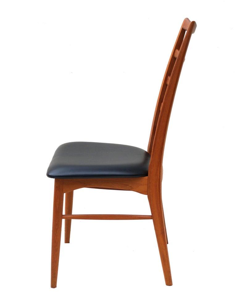 Set of 6 Danish Modern Teak Ladder Back Niels Koefoeds Dining Chairs Hornslet In Good Condition For Sale In Wayne, NJ