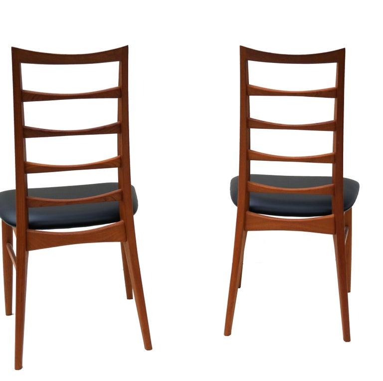 Mid-20th Century Set of 6 Danish Modern Teak Ladder Back Niels Koefoeds Dining Chairs Hornslet For Sale