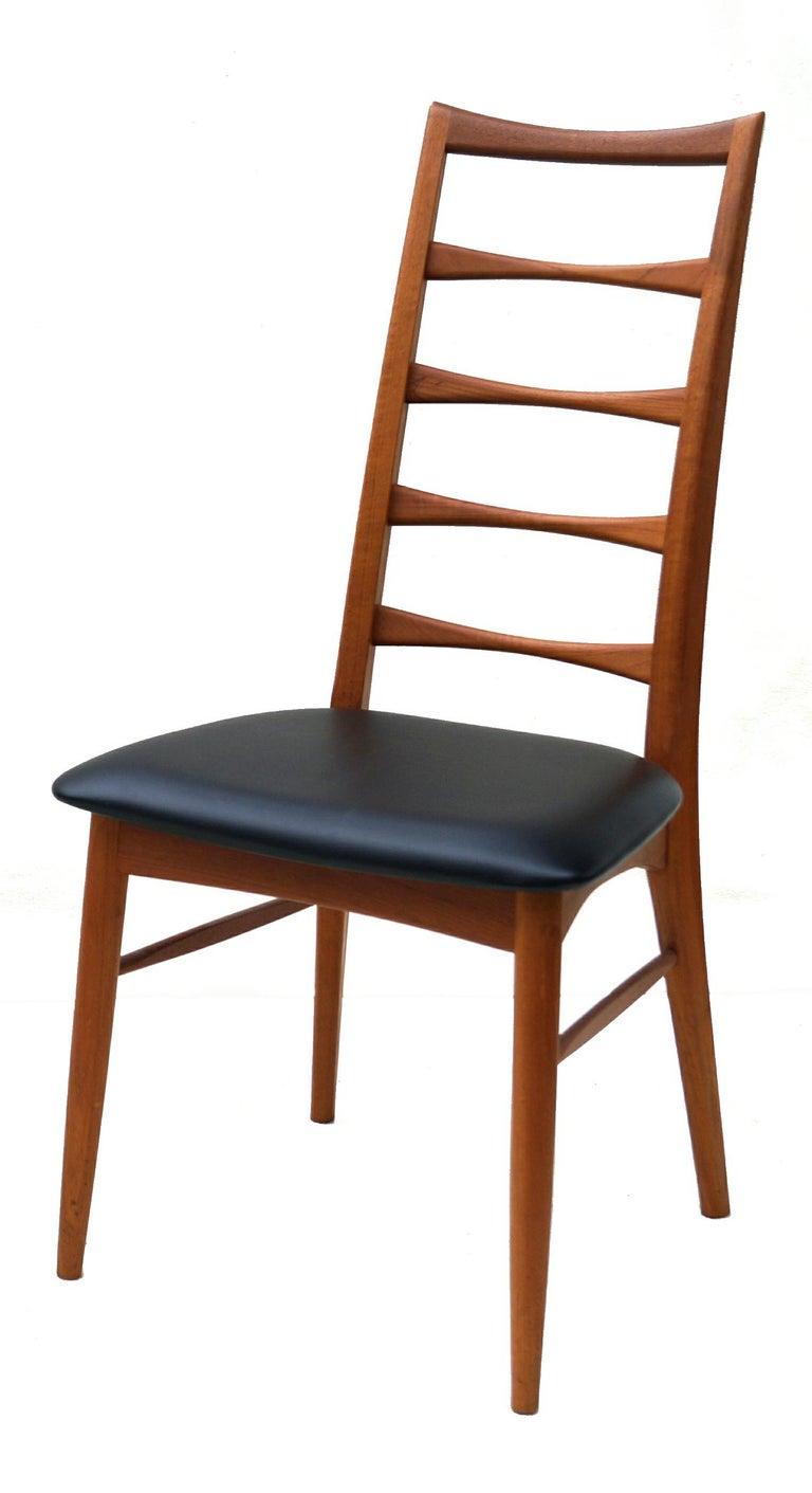 Set of 6 Danish Modern Teak Ladder Back Niels Koefoeds Dining Chairs Hornslet For Sale 1