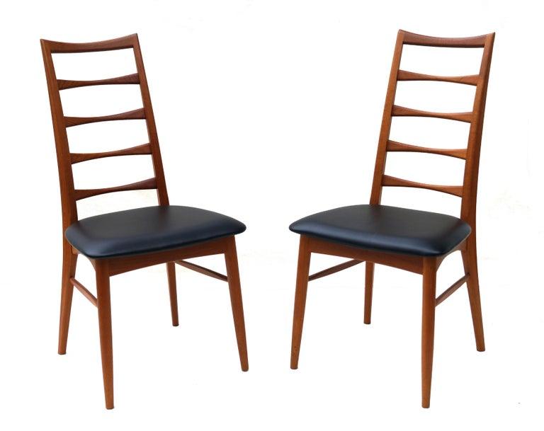 Set of 6 Danish Modern Teak Ladder Back Niels Koefoeds Dining Chairs Hornslet For Sale 2