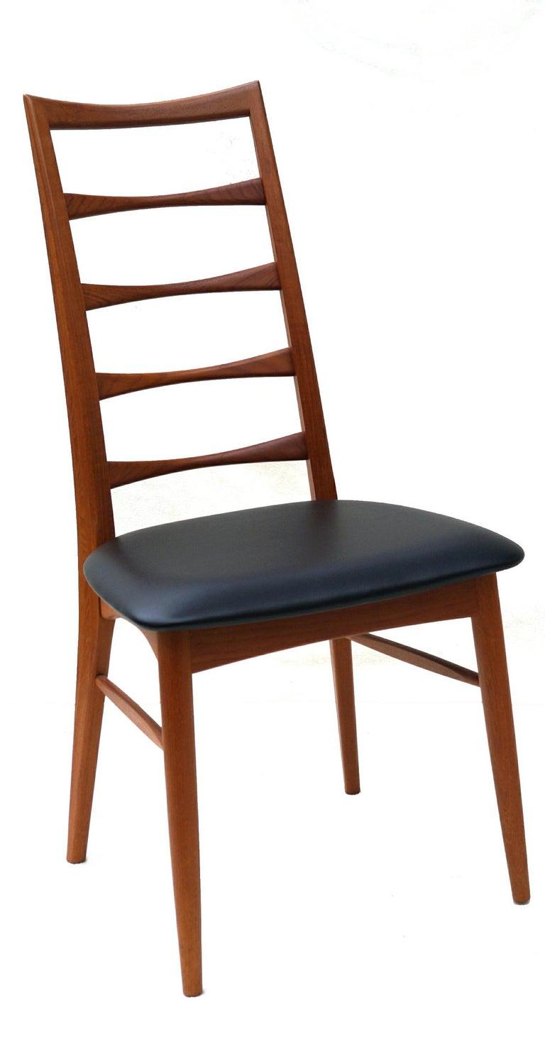 Set of 6 Danish Modern Teak Ladder Back Niels Koefoeds Dining Chairs Hornslet For Sale 3