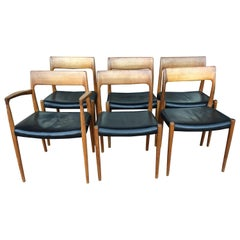 Set of 6 Danish Modern Teak & Leather Chairs by Niels Moller Model 77