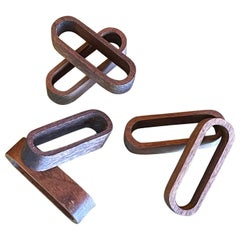 Set of 6 Danish Modern Walnut Napkin Rings
