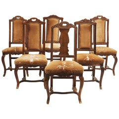 Set of 6 Danish Regence Cow Skin Chairs