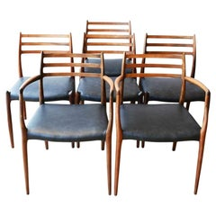 Set of 6 Danish Rosewood Dining Chairs by Niels Otto Moller 78s, 1950s