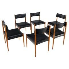 Set of 6 Danish Teak Mid Century Modern Dining Chairs in Black Upholstery