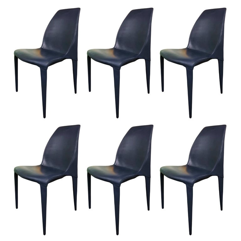 Set Of 6 Dark Blue Leather Chairs By Cattelan Italia For