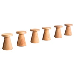 Set of 6 Data Stool in Solid Oregon by Atelier Thomas Serruys