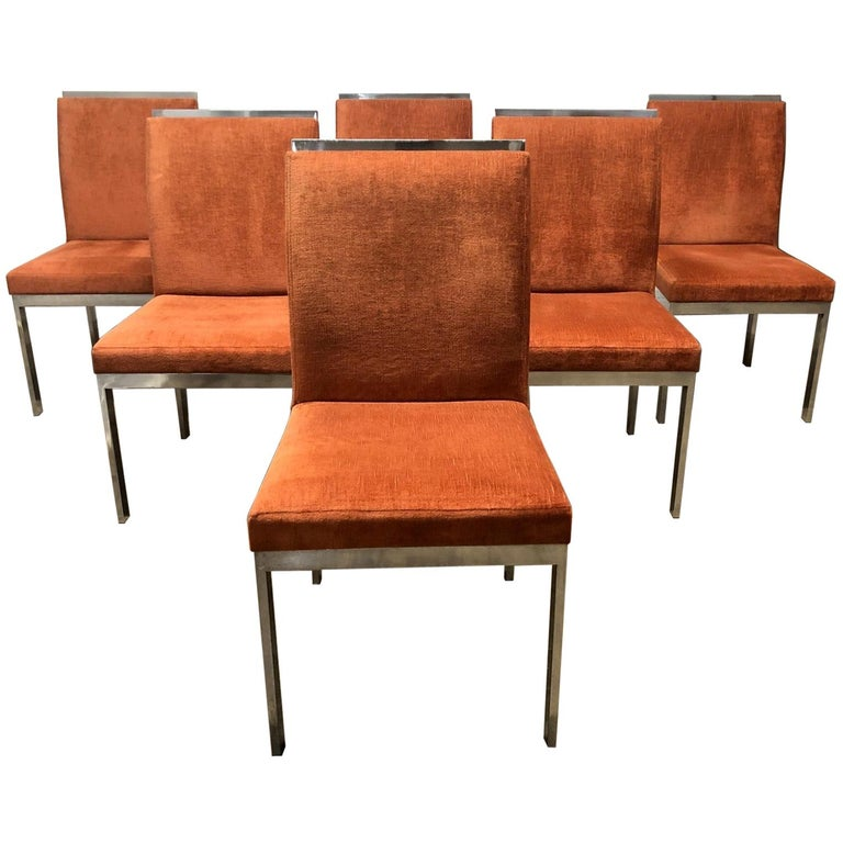 Set of 6 Design Institute of America Chrome Dining Chairs For Sale