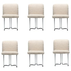 Set of 6 Design Institute of America Chrome Dining Chairs in Ivory White Bouclé
