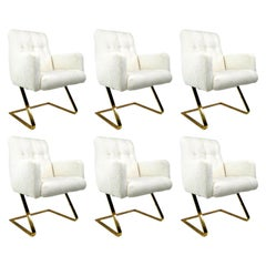 Set of 6 DIA Brass Cantilever Chairs