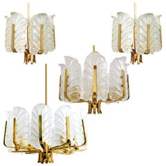 Set of 6 Different Sizes Glass Brass Chandeliers by Fagerlund for Orrefors, 1960