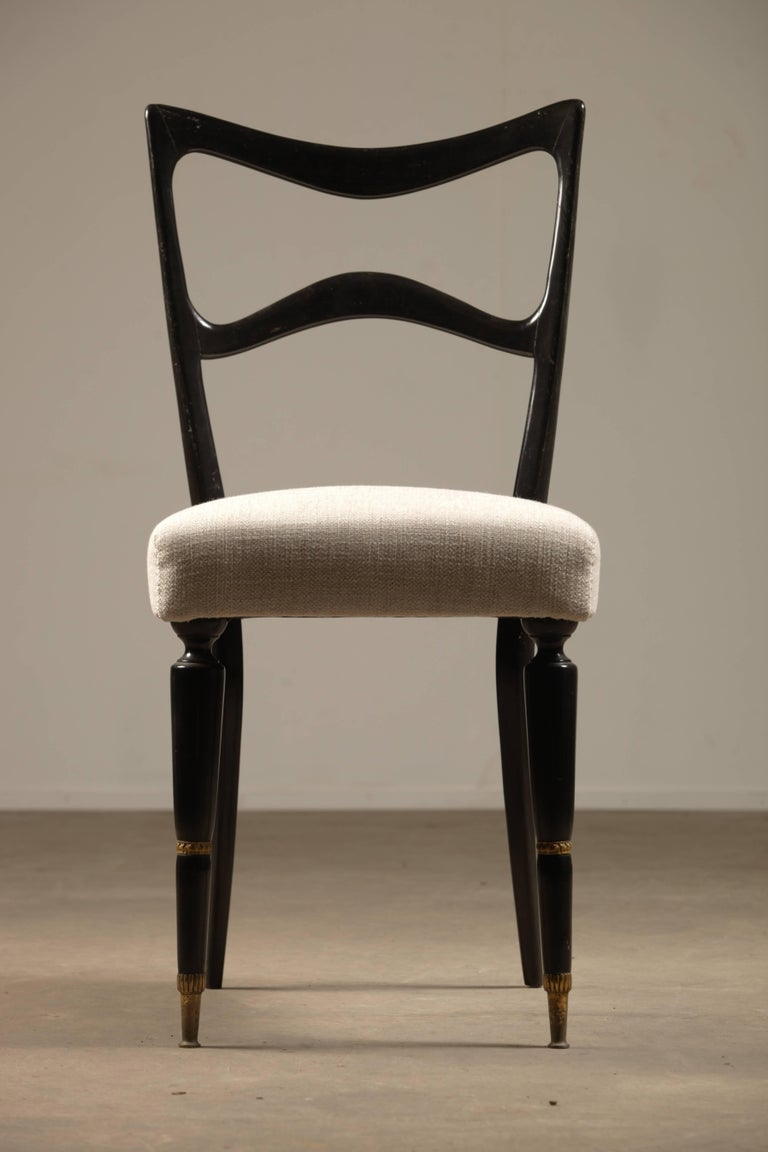 Mid-Century Modern Set of Six Dining Chairs Attributed to Osvaldo Borsani For Sale