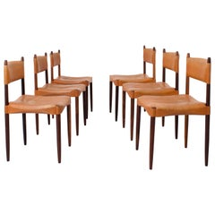 Set of 6 Dining Chairs by Anders Jensen in Rosewood and Leather, Denmark, 1960's