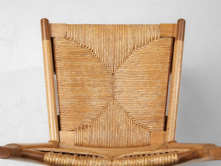 Set of 6 Dining Chairs by Guillerme et Chambron For Sale 3
