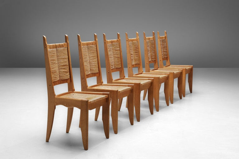 Mid-Century Modern Set of 6 Dining Chairs by Guillerme et Chambron For Sale