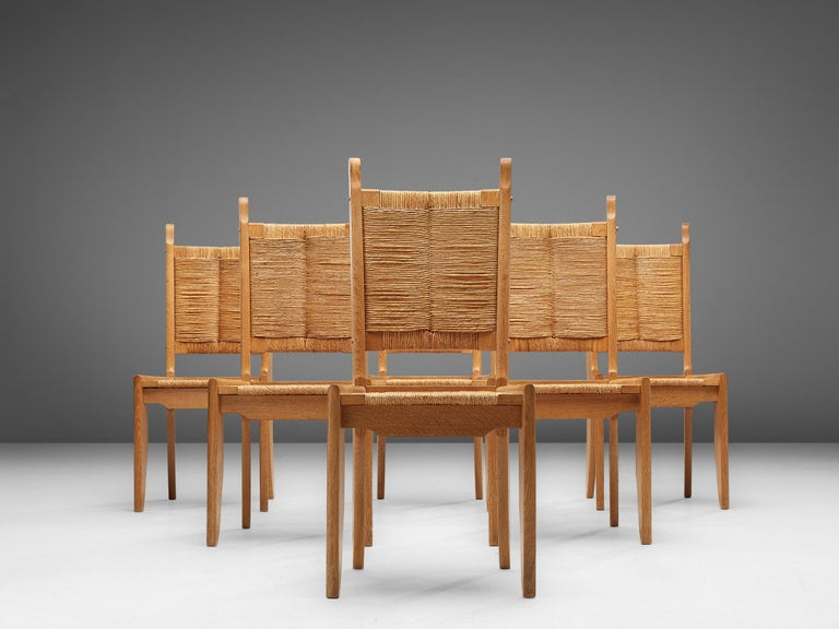 French Set of 6 Dining Chairs by Guillerme et Chambron For Sale