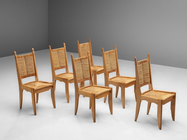 Set of 6 Dining Chairs by Guillerme et Chambron In Good Condition For Sale In Waalwijk, NL