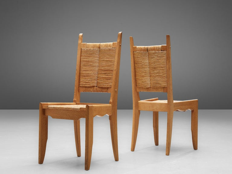Mid-20th Century Set of 6 Dining Chairs by Guillerme et Chambron For Sale