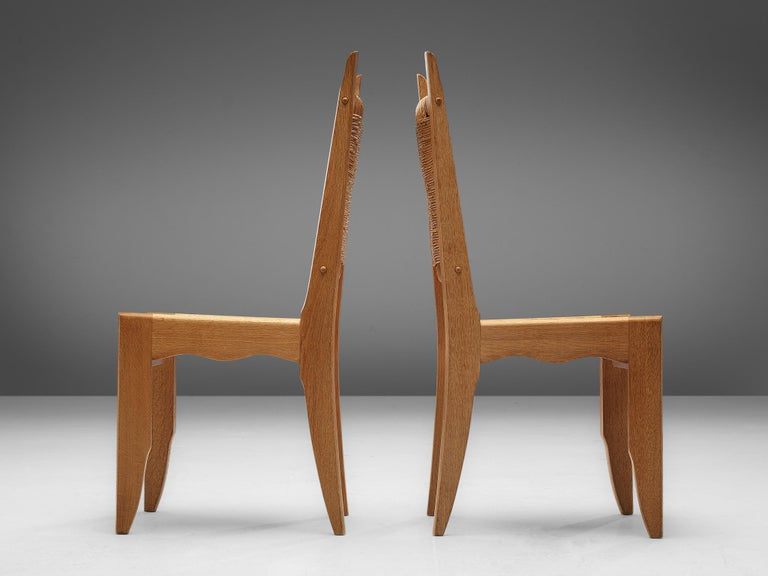 Rush Set of 6 Dining Chairs by Guillerme et Chambron For Sale