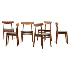 Set of 6 Dining Chairs by Henning Kjaernulf for Bruno Hansen, Designed in 1955
