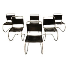 Set of 6 Dining Chairs by Mies Van Der Rohe for Knoll International, 1970s