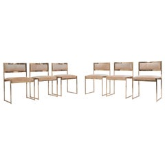 Set of 6 Dining Chairs complete in Brass Gold by Willy Rizzo