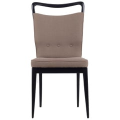I.S.A. Bergamo Set of 6 Italian Brown Dining Chairs with black frame, 1950s