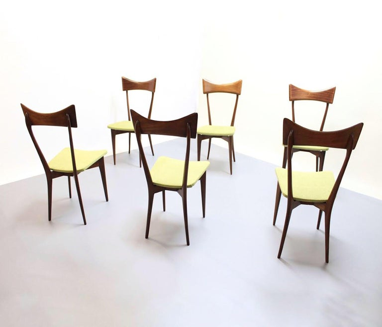 This set of six chairs was designed by Ico Parisi, circa 1945. It was produced by Ariberto Colombo Cantu in Italy in the 1950s. The chairs are in very good condition and have a great Patina. The seats are covered with green velvet.