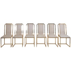 Set of 6 Dining Chairs in Brass by Romeo Rega