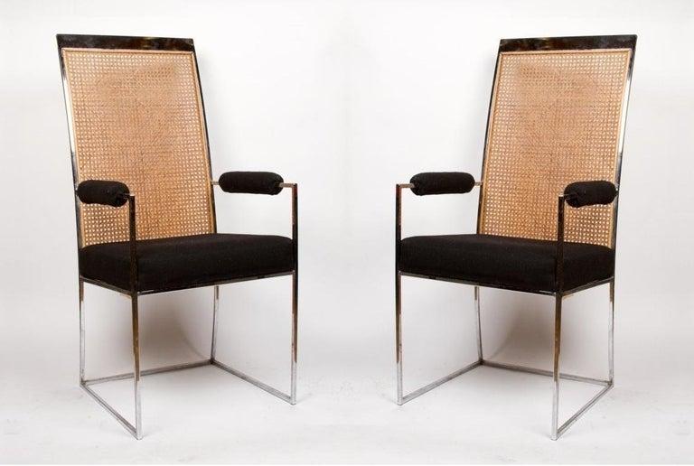 American 6 Milo Baughman Chrome & Cane Back Black Velvet Dining Chairs For Sale