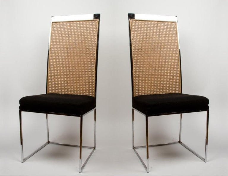 6 Milo Baughman Chrome & Cane Back Black Velvet Dining Chairs In Good Condition For Sale In Dallas, TX