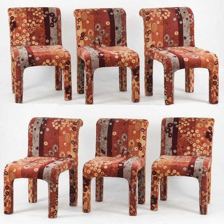 Six amazing dining chairs manufactured by Dillingham and upholstered in a stunning Jack Leonor Larsen velvet upholstery. These make amazing dining or occasional chairs. Upholstery in good condition but seat cushions could use new foam due to age.
