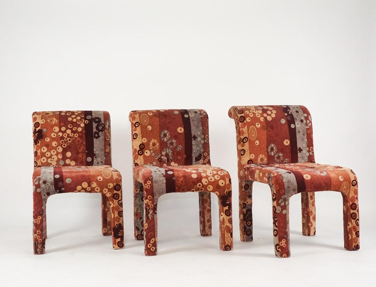 American Set of 6 Dining Chairs in Jack Lenor Larsen Upholstery Fabric Midcentury Modern For Sale