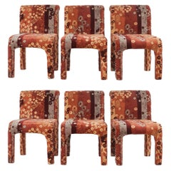 Set of 6 Dining Chairs in Jack Leonor Larsen Upholstery Fabric Postmodern Style