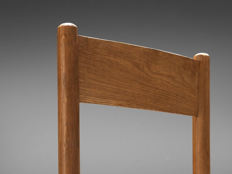 Mid-Century Modern Set of 6 Dining Chairs in Oak with Rush Seating