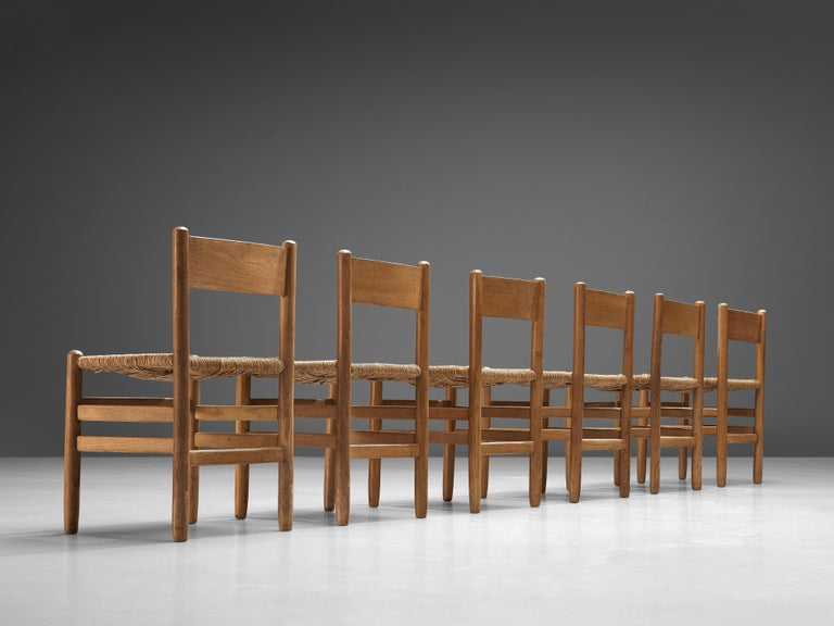 Mid-20th Century Set of 6 Dining Chairs in Oak with Rush Seating