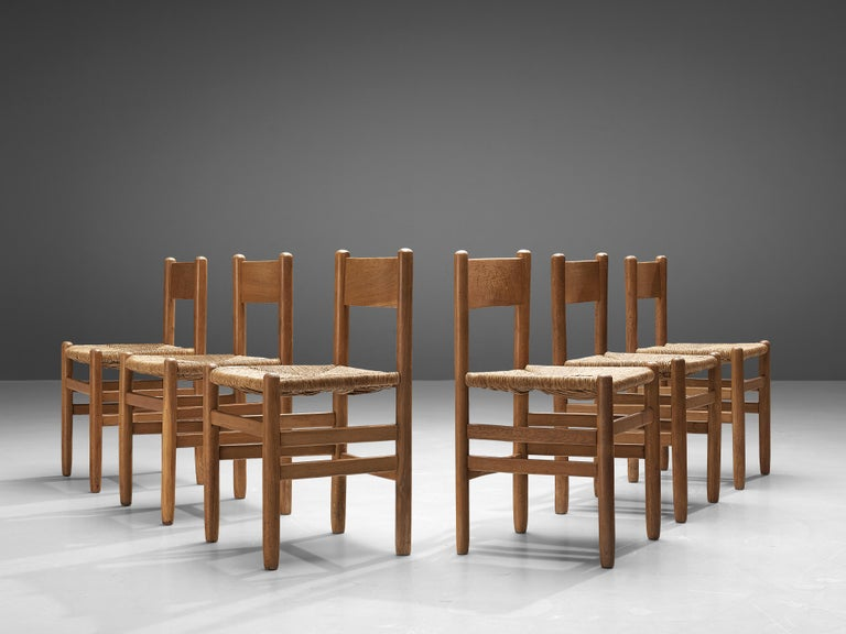 Set of 6 Dining Chairs in Oak with Rush Seating 2