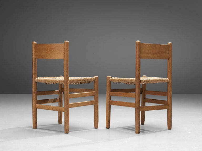 Set of 6 Dining Chairs in Oak with Rush Seating 3