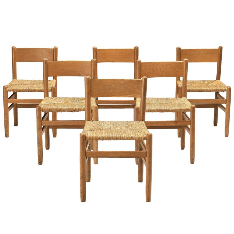 Set of 6 Dining Chairs in Oak with Rush Seating