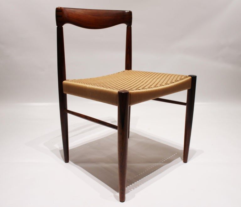 Scandinavian Modern Set of 6 Dining Chairs in Rosewood, by H.W. Klein and Bramin, 1960s For Sale