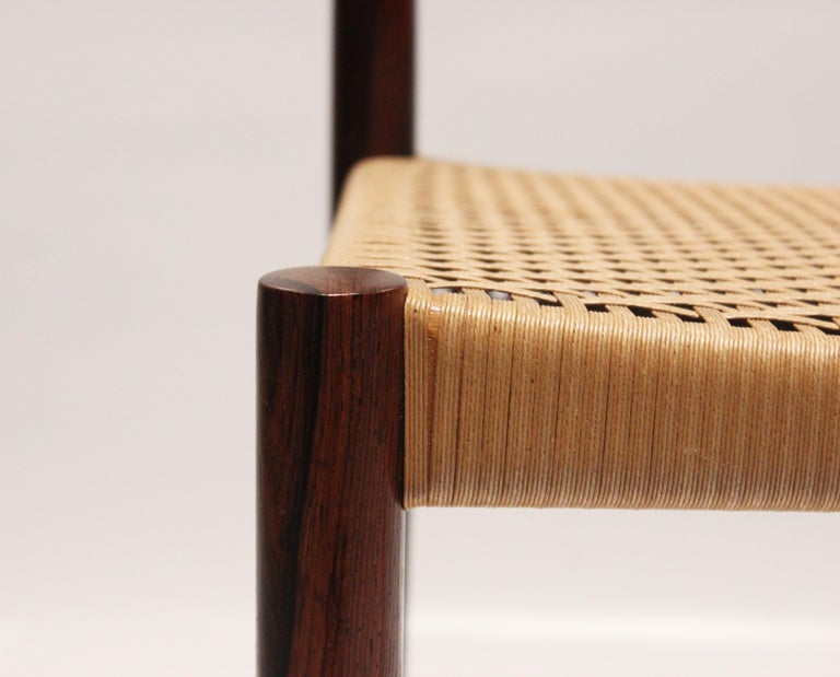 Papercord Set of 6 Dining Chairs in Rosewood, by H.W. Klein and Bramin, 1960s For Sale