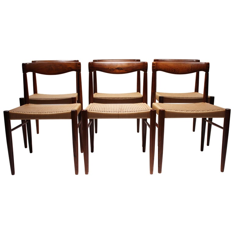 Set of 6 Dining Chairs in Rosewood, by H.W. Klein and Bramin, 1960s For Sale