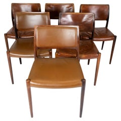 Set of 6 Dining Chairs, Model 80, in Rosewood Designed by N.O. Møller