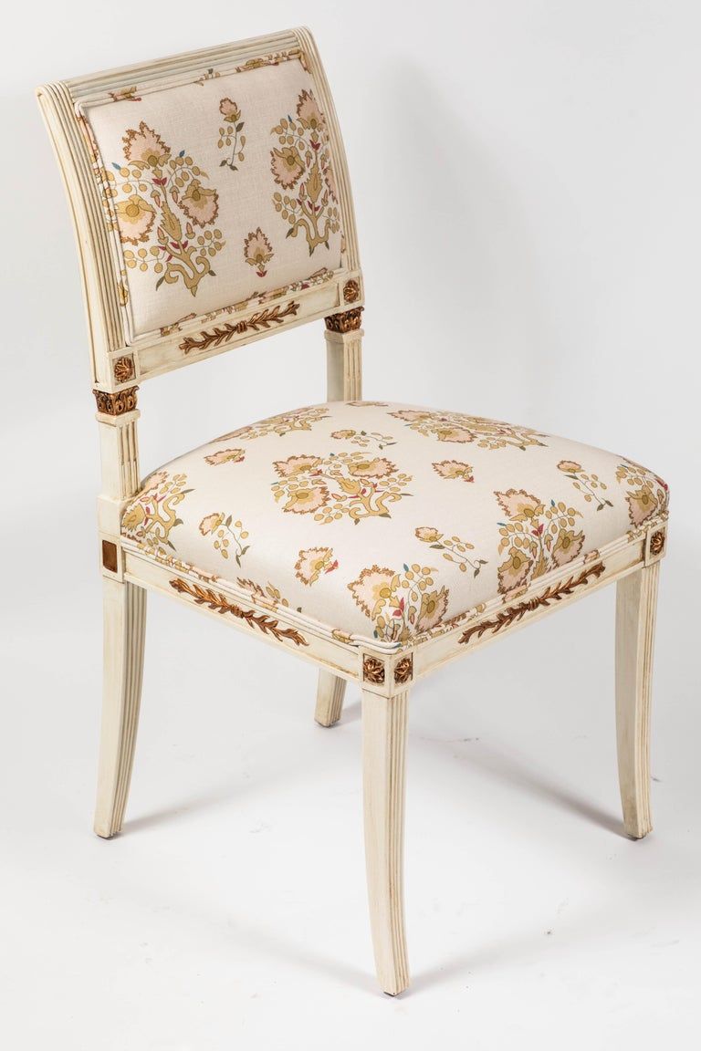 Set of 6 Dining Chairs Newly Upholstered in Penny Morrison 100% Linen For Sale 4