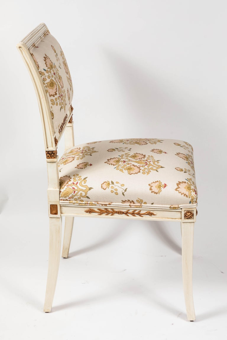 Set of 6 Dining Chairs Newly Upholstered in Penny Morrison 100% Linen For Sale 5