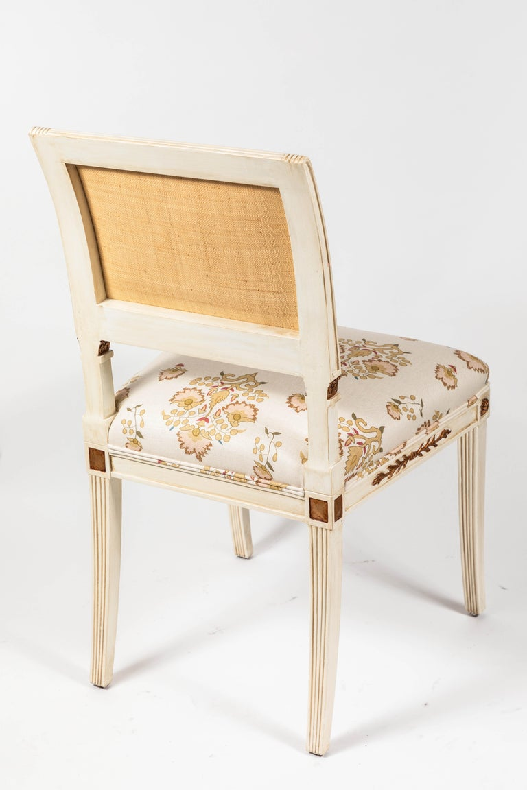 Set of 6 Dining Chairs Newly Upholstered in Penny Morrison 100% Linen For Sale 6
